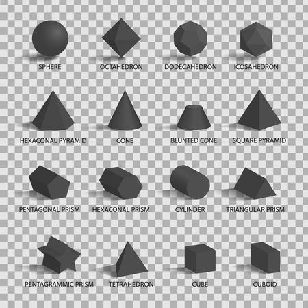 Set of 3D Figures on Transparent Background