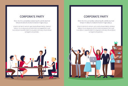 Web Page of People Partying Vector Illustration