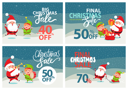 Final Christmas sale holiday discount 70 40 50 off posters with Santa and Elf riding on sleigh, playing musical instrument, merrily jumping banners