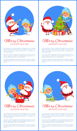 Merry Christmas and Happy New Year posters vector illustration set