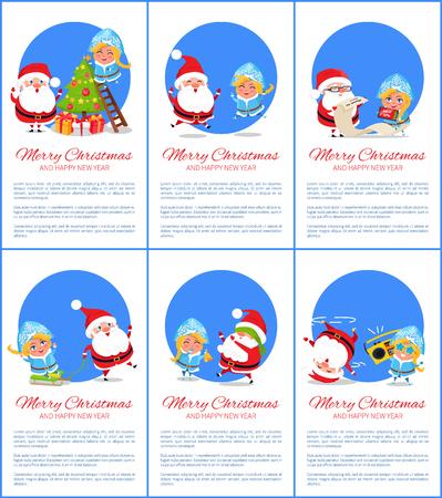 메리 크리스마스와 행복 한 새 해, 스노 메이든 및 산타 클로스 공 및 종소리와 트리 장식 및 노래, 포스터 벡터 일러스트 레이 션 설정