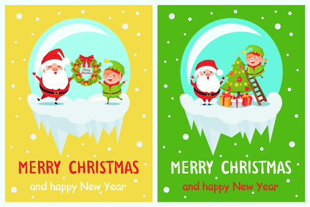Postcard Merry Christmas Happy New Year Santa and Elf decorating tree from ladder, present gift boxes and wreath in ball crystal vector illustration