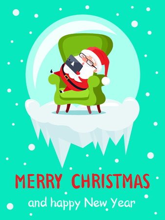 Merry Christmas and Happy New Year banner with Santa adventures in glass ball having rest in cosy armchair with smartphone or tablet vector poster