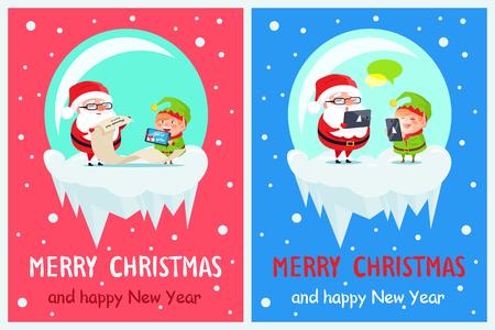 Prettige kerstdagen en gelukkig Nieuwjaar, baan van de kerstman, helper met lijst van geschenken en Claus-cheques, chatten op internet geïsoleerd vectorillustratie Stock Illustratie