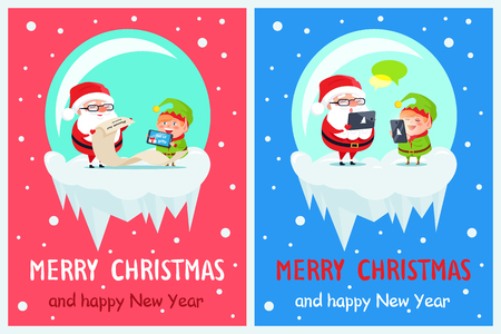 Merry Christmas and happy New Year, job of Santa, helper showing list of gifts and Claus checks, chatting at internet isolated vector illustration