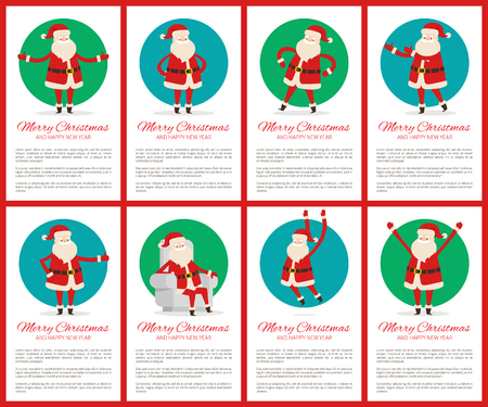 Merry Christmas big collection of posters with sample text and titles, images of Santa Claus in circles, creative banners vector illustration Illustration