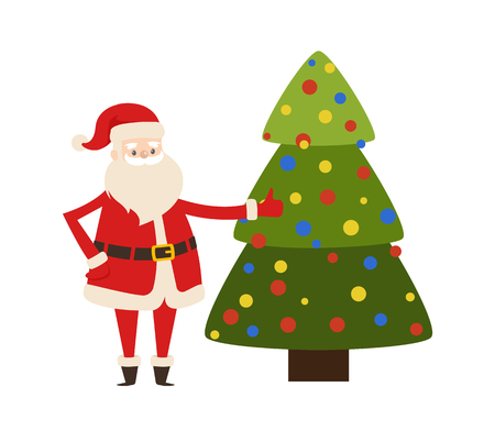 Santa Claus near New Year tree vector illustration poster with decorated spruce and Saint Nicholas character vector isolated on white Ilustração