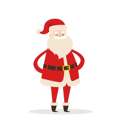 サンタクロースは、漫画のスタイルで白い背景に隔離された新年とクリスマスの休日のシンボルのバックベクトルイラストで手を保持します