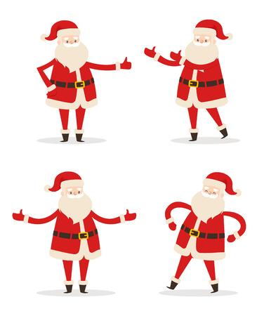 Gelukkig lachend Santa Claus pictogram geïsoleerd op een witte achtergrond. Vectorillustratie met grappig wintertijdkarakter in rood kostuum met witte pluizige baard