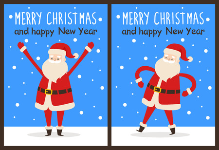 Merry Christmas and Happy New Year posters set Santa Claus with raised hands and put on waist vector illustration cartoon character on snowy backdrop Illustration