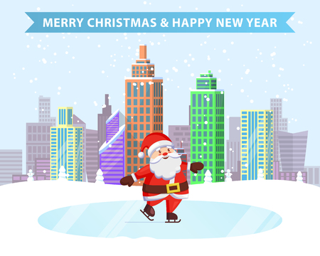 Merry Christmas happy New Year ice-skating Santa on frozen lake in snowy city park. Vector illustration with wintertime cityscape and fairy tale character