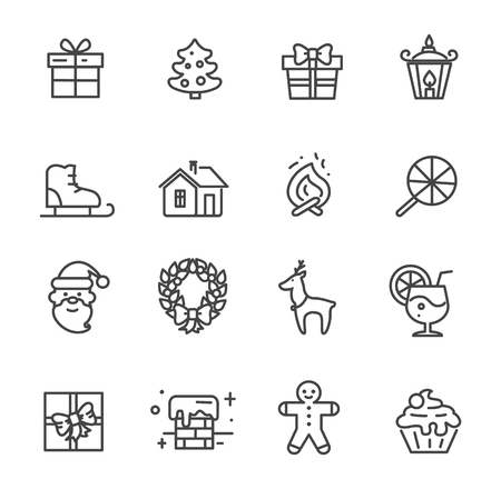 Set of cute transparent icons isolated on white background. Vector illustration with gift box decorated with bow, snowy chimney and smiling Santa Claus Illustration