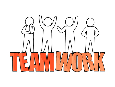 Teamwork, headline placed below the icons of peoples silhouette standing in different poses vector illustration isolated on white background Imagens - 91682846