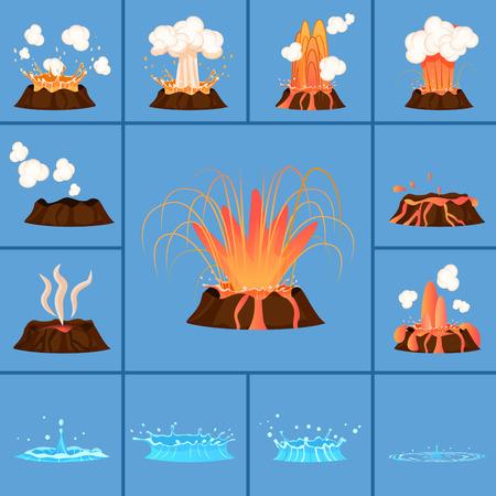 Koncepcja aktywnego wulkanu i ikony gejzeru. Ilustracje wektorowe