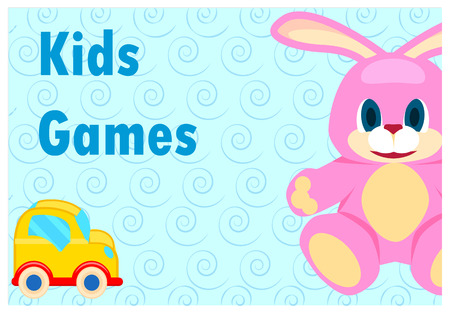 Kids games template poster of closeup pink hare and small yellow automobile for children amusement isolated on blue background Illustration