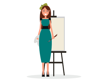 Lady painter with brush and easel icon.
