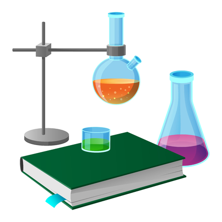 Textbook and science tools icon.