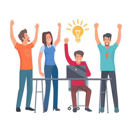 Group of happy employees icon.