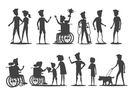 Pessoas com deficiência ilustração vetorial; Silhuetas de seres humanos em cadeiras de rodas ou em próteses andando, ganhando, aceita parabéns.