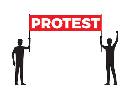 Protest streamer in hands of two men silhouettes isolated on white background. Person with raised hand and one that stands still vector illustration.