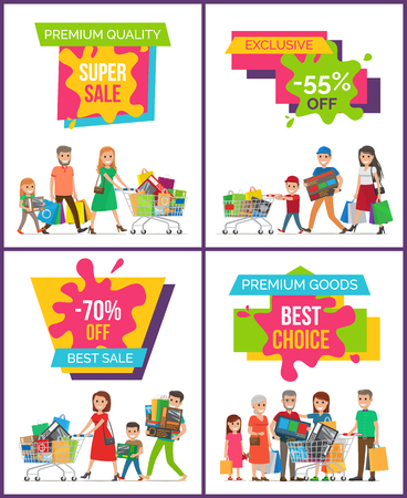 Premium quality super sale, exclusive -55 off, set of placards with images of family with bags and shopping carts on vector illustration Vectores