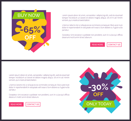 Buy now -65 off, -30 off only today, internet pages made up of informational text, buttons and headlines vector illustration isolated on white Illustration