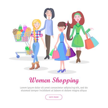 Women shopping banner.