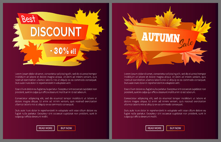 Discounts offer special price invitation vouchers on autumn big sale 2017, fall collection web banners with buttons read more and buy now vector set
