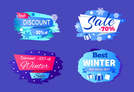 Best big winter 2017 sale clearance on set of four colorful signs on blue background. Vector illustration with seasonal discount advert labels Reklamní fotografie - 91684451