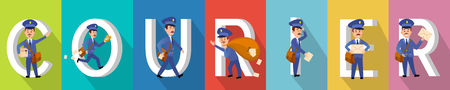 COURIER delivery character colourful collection. Illustration
