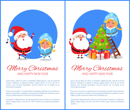 Merry Christmas and happy New Year, characters singing carols, evergreen tree decorated with balls and toys, stars and garland vector illustration