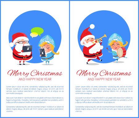Merry Christmas and happy New Year, innovations in form of gadgets in hands of Santa Claus and Snow Maiden, posters set, vector illustration