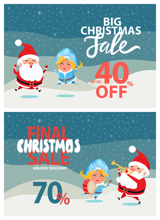 Final big Christmas sale 40, 70 off promo poster with Santa and Snow Maiden playing on trumpet and drum on winter landscape vector illustrations set