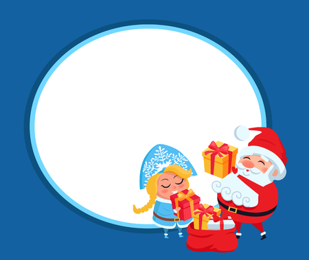 Snow maiden and Santa Claus vector illustration, poster with grandfather and granddaughter are unpacking gift boxes, isolated on dark blue background