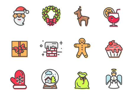 Set of Christmas elements icon. Illustration