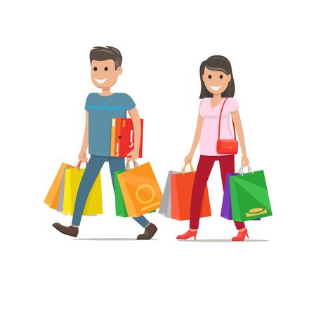 Shopping couple icon. Illustration