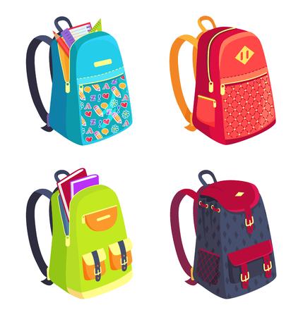 Set of colorful rucksacks icon.