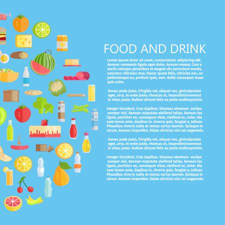 食べ物と飲み物のバナー。  イラスト・ベクター素材