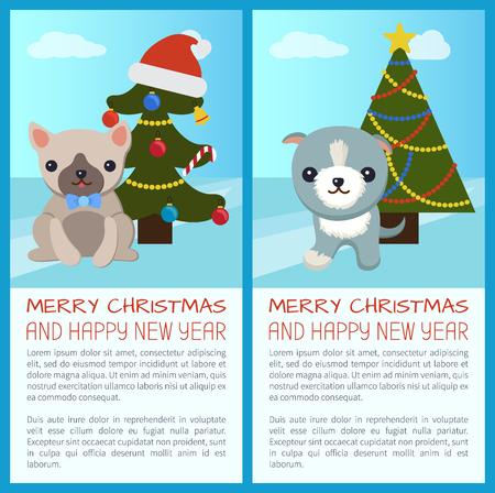 메리 크리스마스와 해피 뉴가 어 인사말 카드입니다. 일러스트