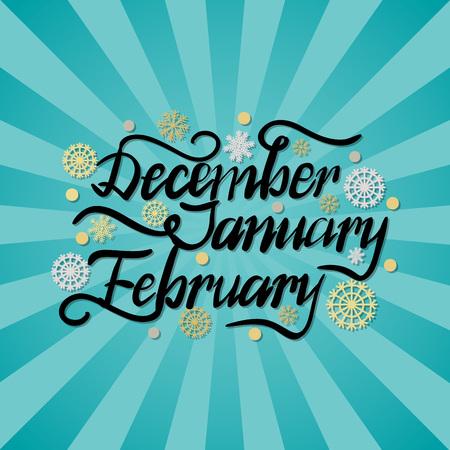 December January February Winter Month Inscription