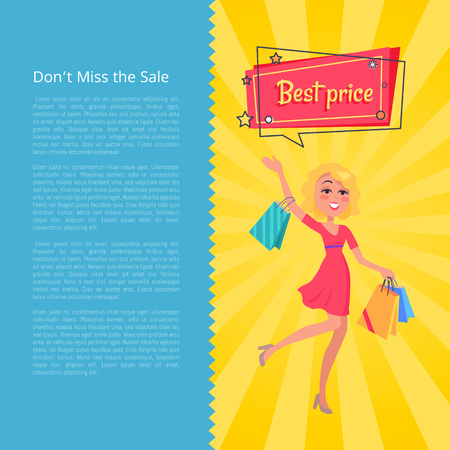 Don t Miss the Sale Best Prices Poster with Woman Vector illustration.