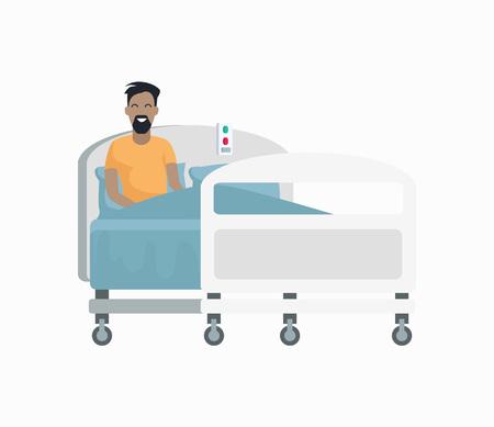 흰색 배경에 고립 된 병원 침대 아이콘에 남성 환자. 바퀴 달린 침대에 앉아 파란색 담요로 덮여 남자와 벡터 일러스트 레이션