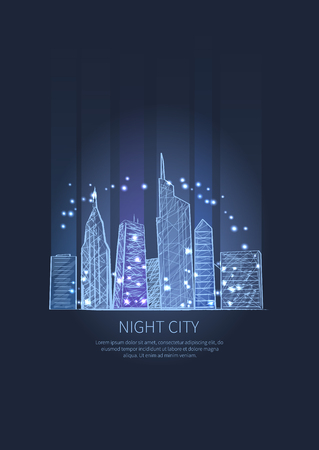 Night city lights of buildings and skyscrapers. Vector illustration of town drown in light blue colors isolated, splashing glittering elements
