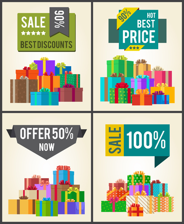 Sale best discounts super prices offer 50 now 100 sticker labels on banners with present festive gift boxes vector illustration posters set Illustration