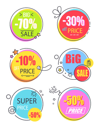 Super price reduction advertisement emblems set. Creative discount logotypes in round circle shape, labels on thread and lace vector illustrations. Ilustrace
