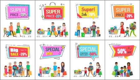 Big sale with super prise for wholesale purchases promotional posters set. Families out on shoppings with full bags and trolleys vector illustrations. Ilustração
