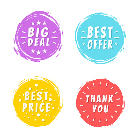 Big deal best offer price thank you 100 natural inscriptions painted spots with brush strokes vector illustration isolated, promo discounts labels