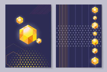 La progettazione della copertura del manifesto con i cristalli dorati del diamante di forma differente su fondo blu con le figure geometriche astratte vector l'insegna dell'illustrazione Archivio Fotografico - 91697942