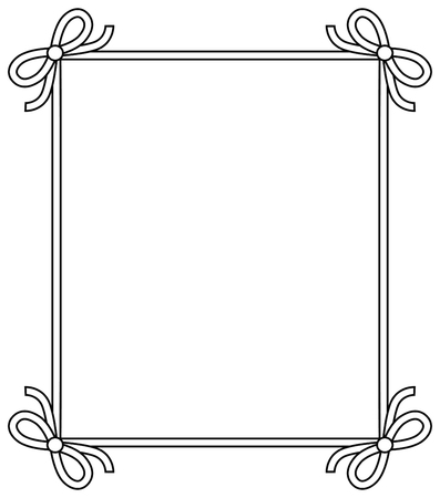 Ornamental frame with vintage decor elements, decorative bows vector illustration in linear style isolated on white background, colorless photoframe