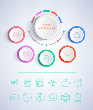 Office colorful infographics , poster with title placed in circle in centerpiece and icons concerning business theme on vector illustration